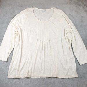 J. Jill Creamy White Long Sleeve Pleated Top 4X